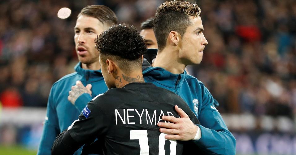 Neymar abraço Cristiano Ronaldo PSG Real Madrid