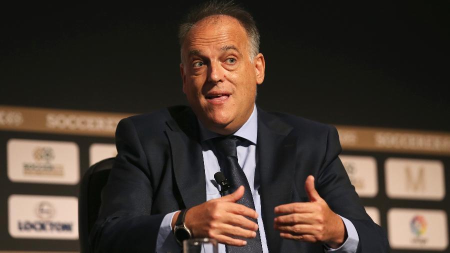 Javier Tebas, presidente da LaLiga, criticou a anulação da decisão da Uefa de banir o Manchester City por 2 anos - Jan Kruger/Getty Images