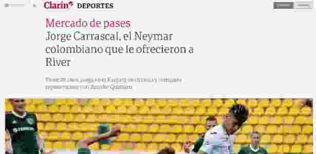 Jornal Clarín colocou Jorge Carrascal como possível reforço do River Plate - Reprodução - Reprodução
