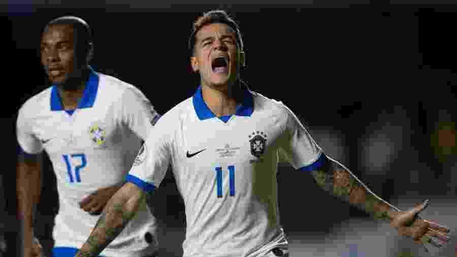 Coutinho comemora gol do Brasil contra a Bolívia - Pedro Martins / MoWA Press
