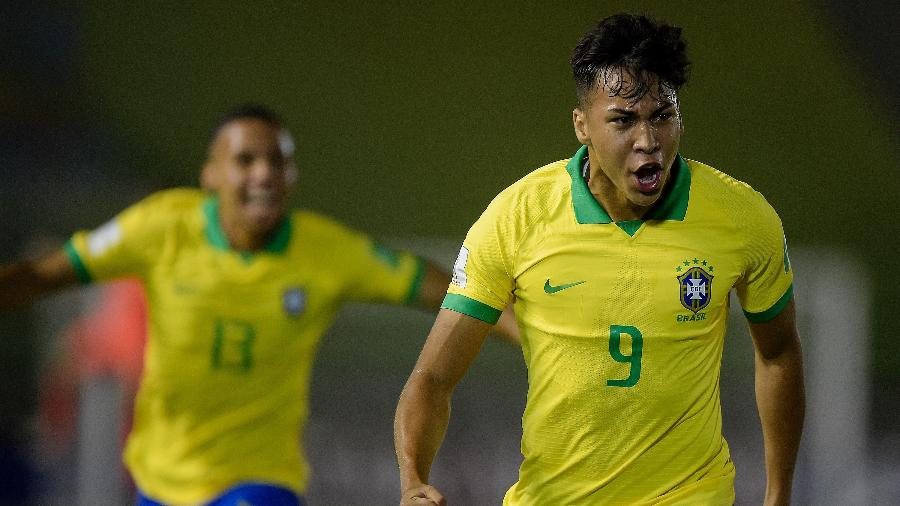 Kaio Jorge comemora gol do Brasil contra o Chile no Mundial sub-17 - Divulgação/CBF
