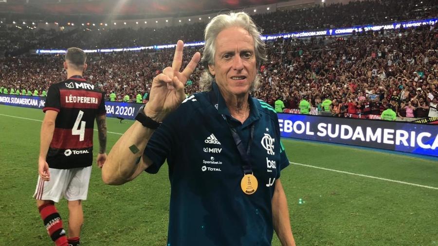 Jorge Jesus, após o título do Flamengo na Recopa. Técnico vai seguir no clube - Alexandre Vidal/Flamengo