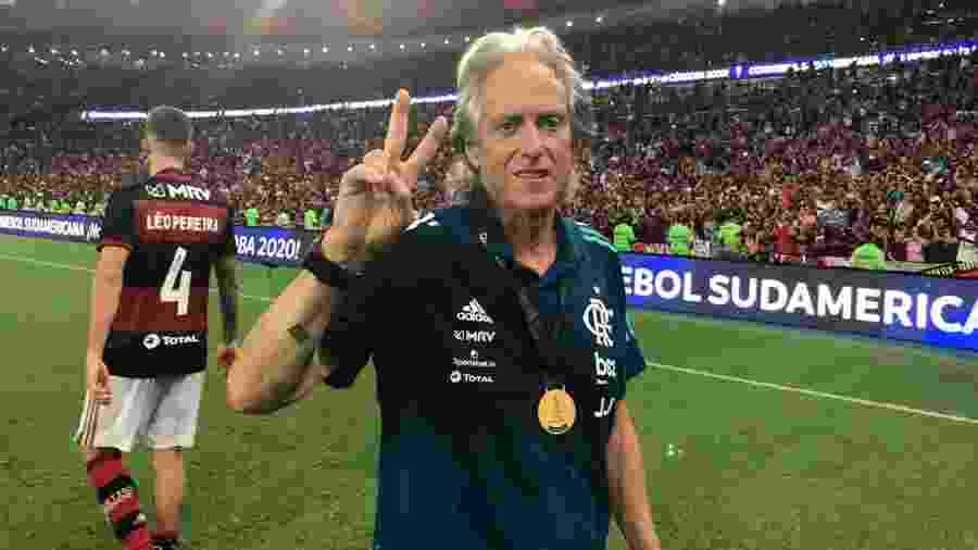 Jorge Jesus, após o título do Flamengo na Recopa - Alexandre Vidal/Flamengo