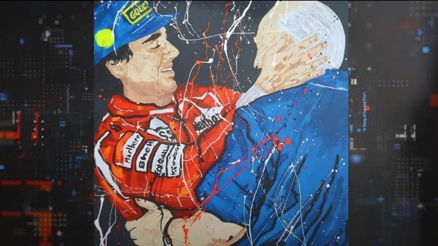 Pintura de Ayrton Senna abraçando Juan Manuel Fangio - Reprodução TV
