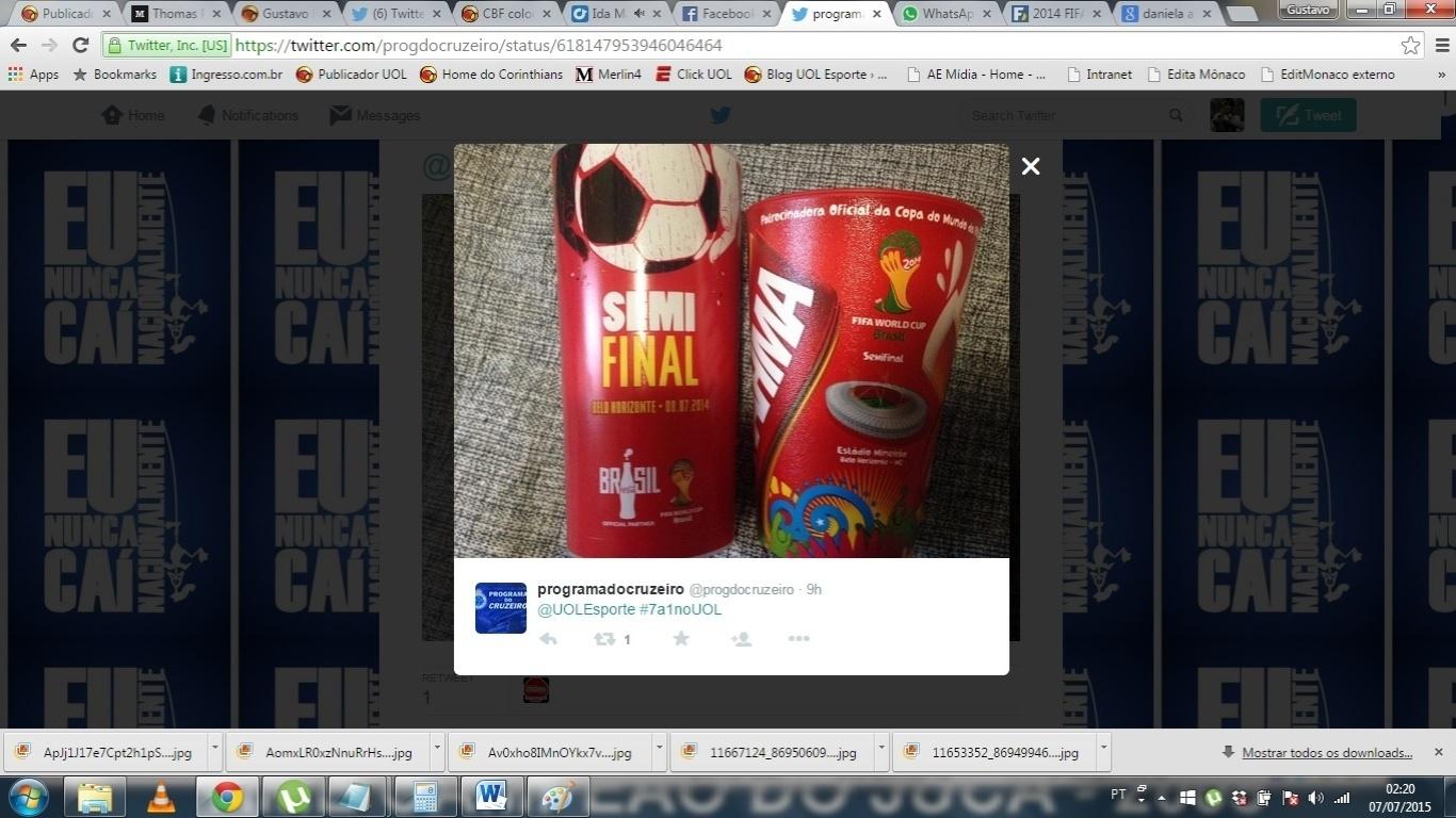 O Twitter @ProgdoCruzeiro postou a sua recordação do 7 a 1 no Twitter do UOL Esporte