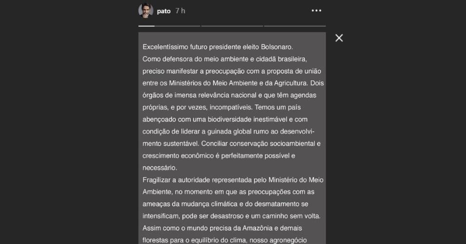 Pato compartilha texto que questiona fusão de ministérios da Agricultura e do Meio Ambiente