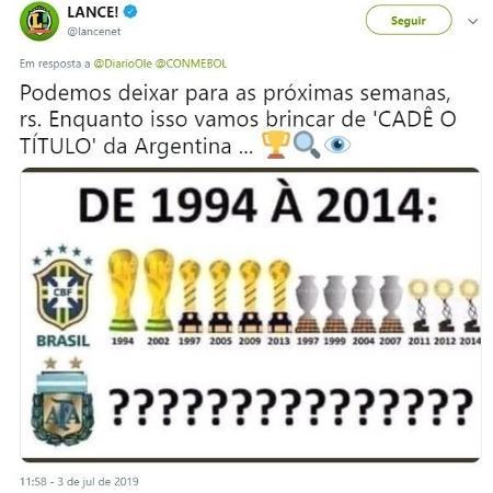 """Lance provoca diário """"Olé"""" após vitória do Brasil sobre a Argentina  - Reprodução"""