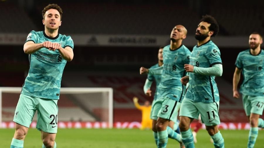 Diogo Jota marca pelo Liverpool contra o Arsenal pelo Campeonato Inglês - Andrew Powell/Liverpool FC via Getty Images