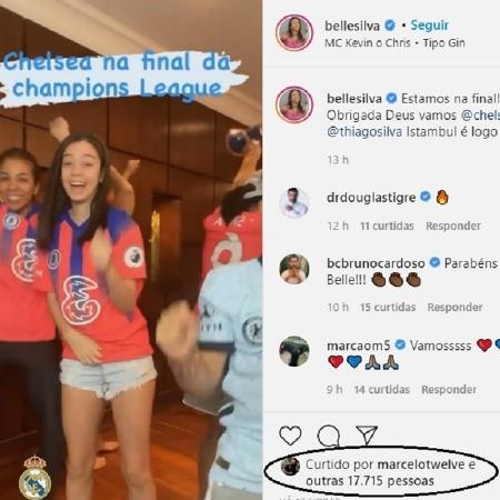 Belle Silva publicou vídeo dançando após ingleses eliminarem o Real na Champions - Reprodução/Instagram