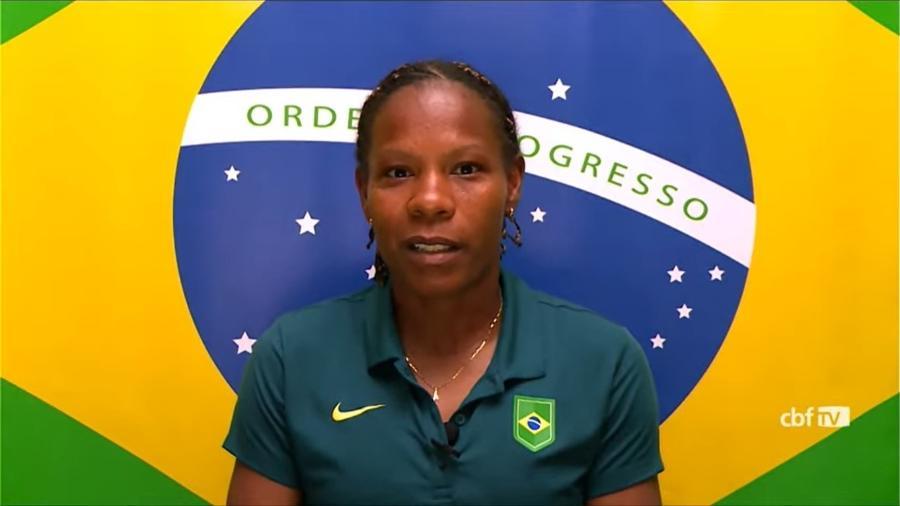 Formiga durante entrevista coletiva da seleção brasileira no Japão, hoje (23); próximo jogo é contra a Holanda - Reprodução/CBF TV
