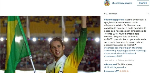 Thiago Pereira foi porta-bandeira no encerramento do Pan do Rio em 2007