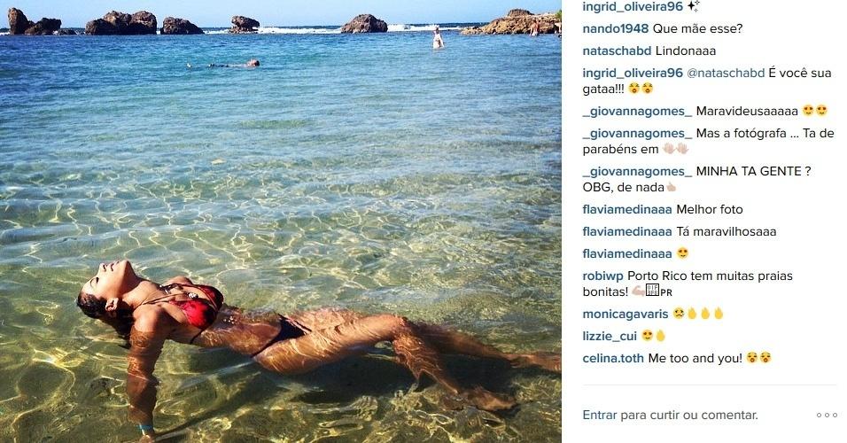 Ingrid Oliveira posta foto no Instagram em praia de Porto Rico