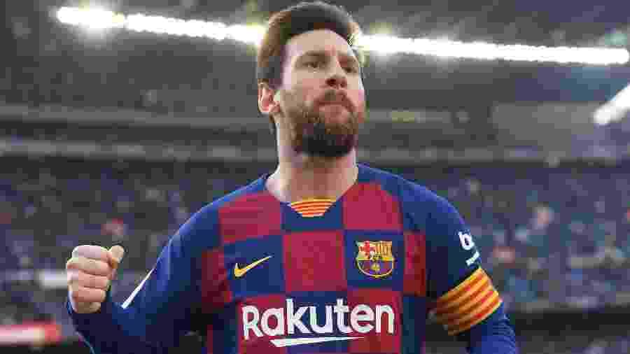 Messi comemora gol contra o Eibar no Campeonato Espanhol - JOSEP LAGO/AFP