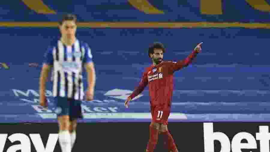 Salah comemora após marcar para o Liverpool contra o Brighton - Daniel Leal Olivas/Pool via Getty Images)