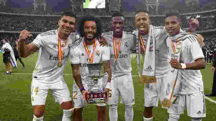 Casemiro, Marcelo, Vinícius Júnior, Éder Militão e Rodrygo, os brasileiros do Real Madrid - Reprodução/Twitter Real Madrid FC