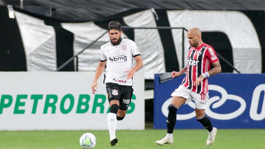 Jogadores de Corinthians e São Paulo durante clássico pelo Brasileirão 2020 - Rodrigo Coca/Agência Corinthians