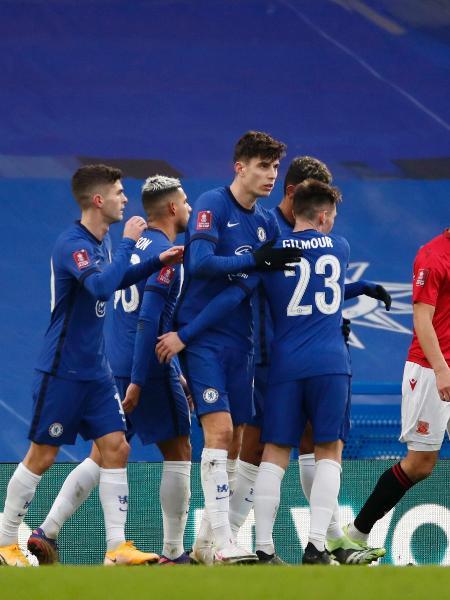 Jogadores do Chelsea comemoram gol sobre o Morecambe, pela Copa da Inglaterra - Paul Childs / Reuters