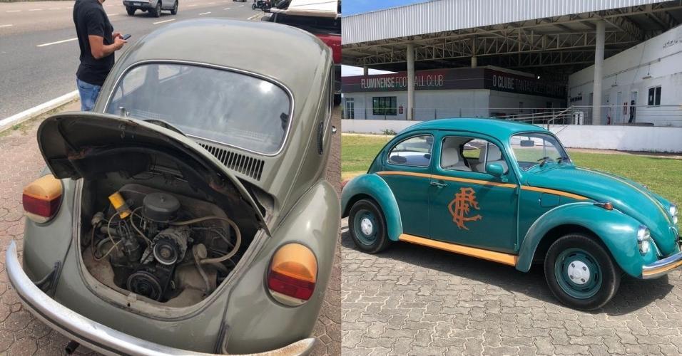 Antes e depois do Flusquinha, carro dos jogadores do Flu Nino e Yago
