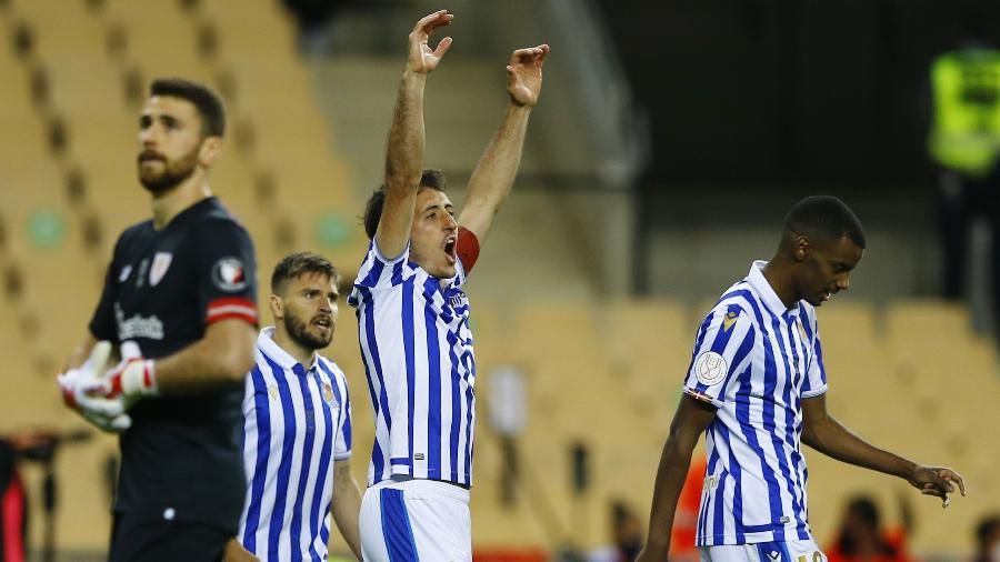Mikel Oyarzabal comemora gol da Real Sociedad contra o Athletic Bilbao, na final da Copa do Rei - REUTERS/Marcelo Del Pozo