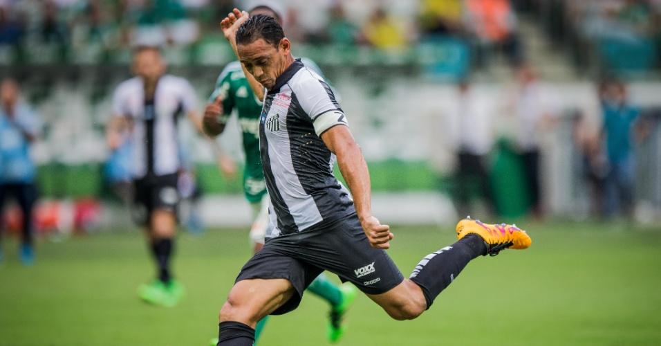Ricardo Oliveira tenta chute para o Santos no jogo contra o Palmeiras, pelo Paulistão
