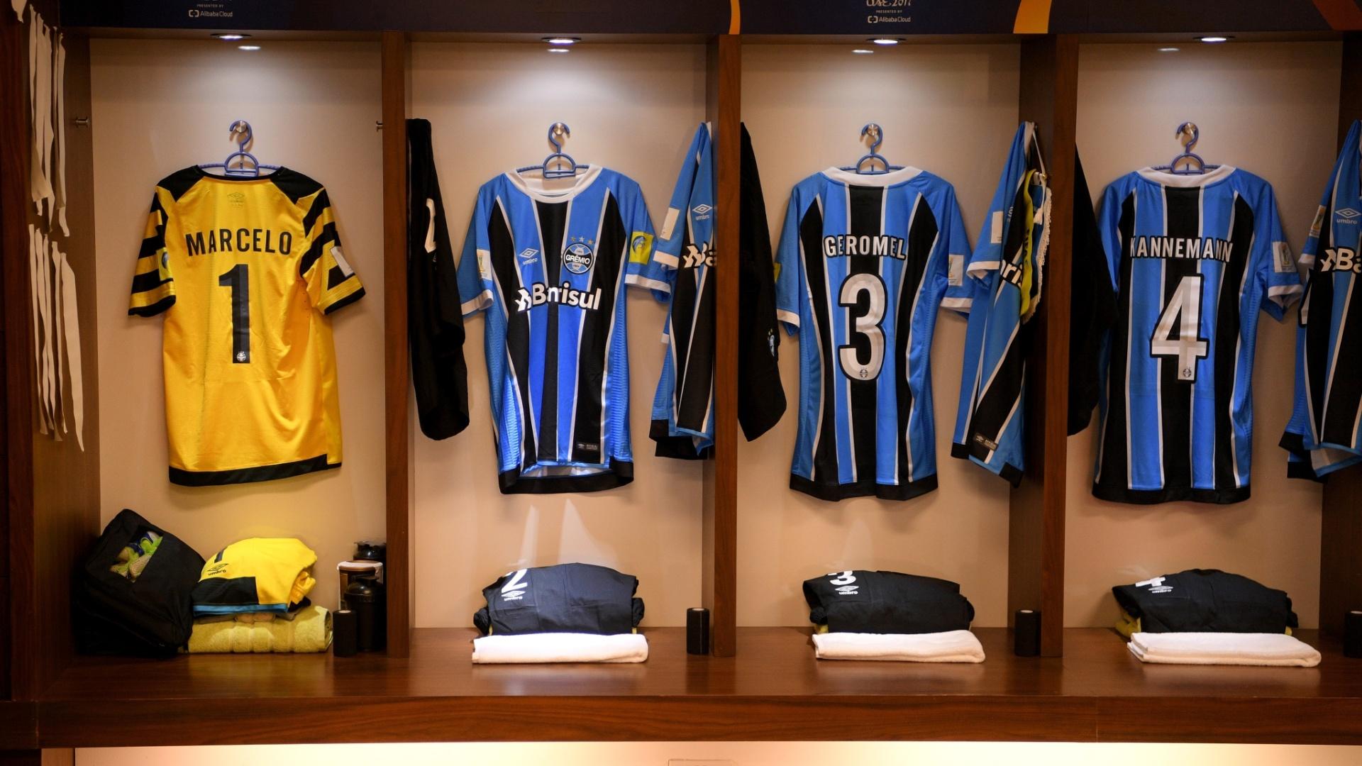 Vestiário do Grêmio está pronto para receber os jogadores para a final do Mundial de Clubes