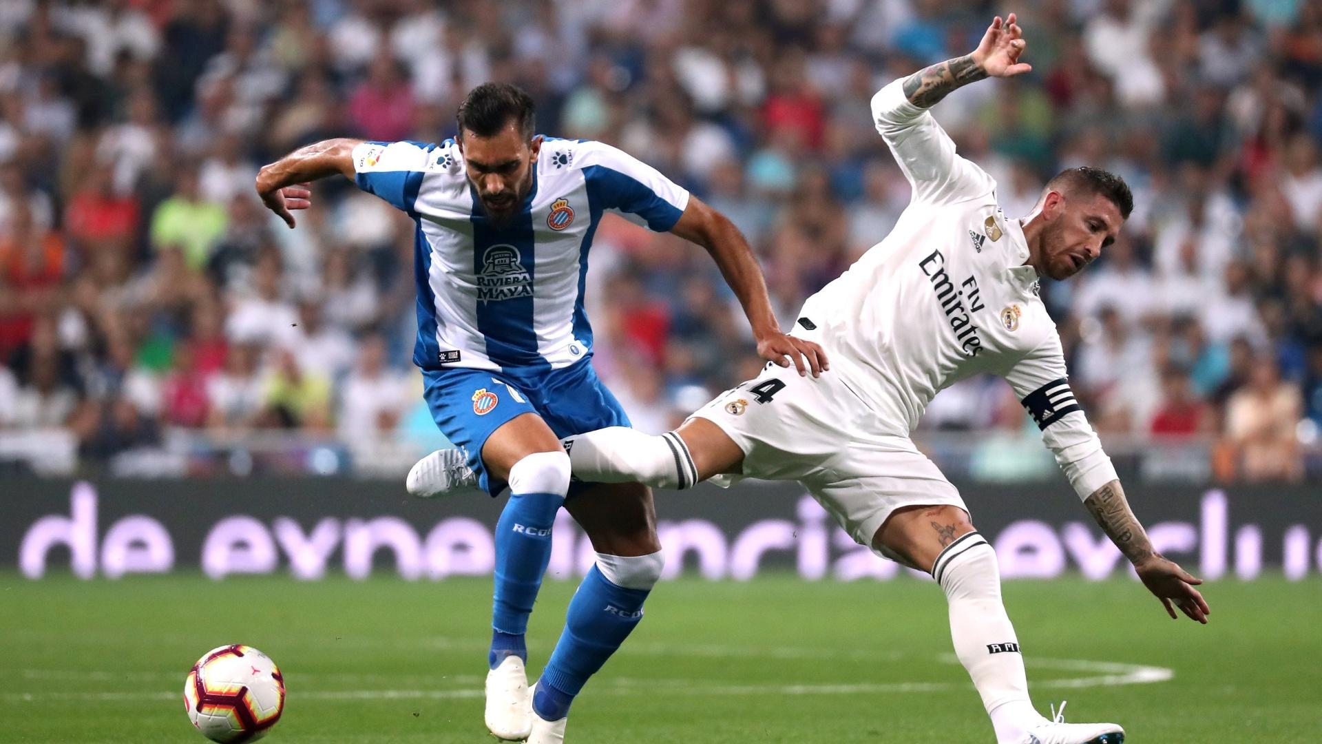 Sergio Ramos durante Real Madrid x Espanyol neste sábado