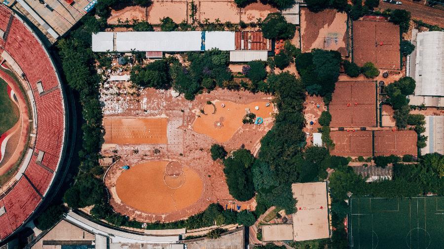 Imagens de drone mostram alagamento na sede social do São Paulo, no Morumbi - Gabriel Cabral/Folhapress