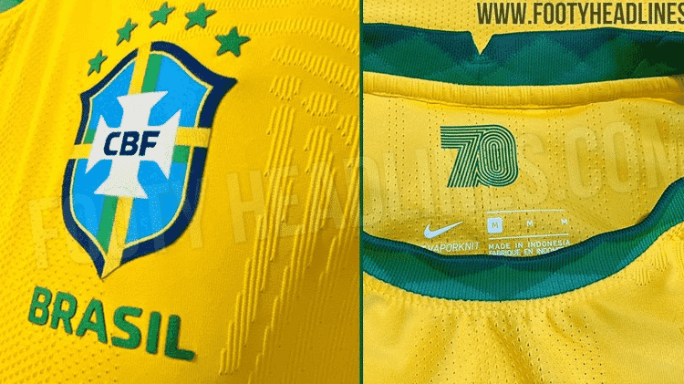 Detalhes da nova camisa da seleção brasileira - Reprodução/Footy Headlines - Reprodução/Footy Headlines