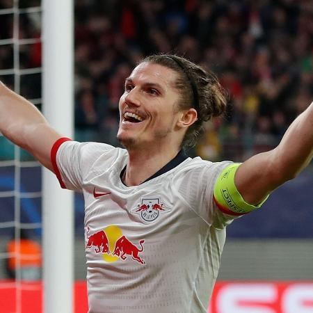Marcel Sabitzer comemorando gol do RB Leipzig diante do Tottenham - Odd Andersen / AFP