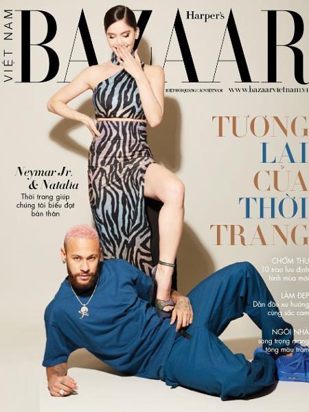 """Neymar posa com DJ Natalia Barulich na capa da revista Harper""""s Bazaar do Vietnã - Reprodução/Harper""""s Bazaar/Instagram"""