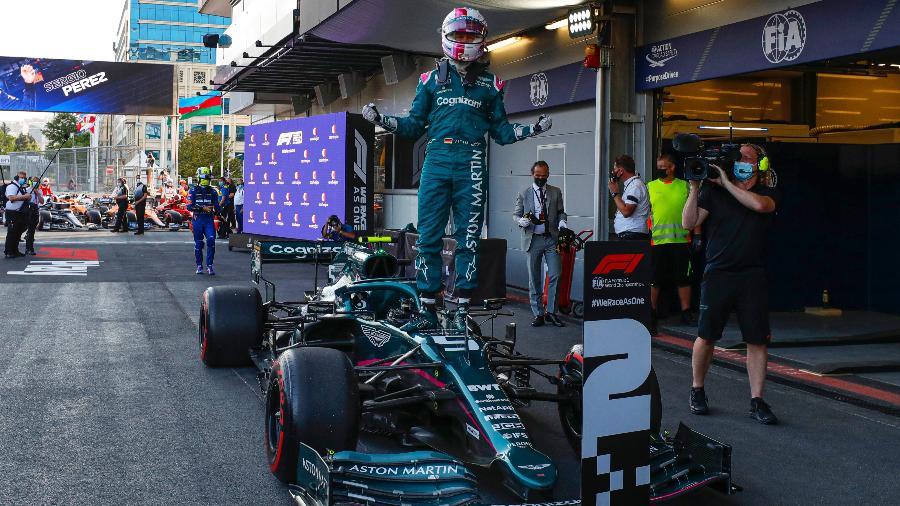 Sebastian Vettel comemora segundo lugar no GP do Azerbaijão - Glenn Dunbar/Aston Martin