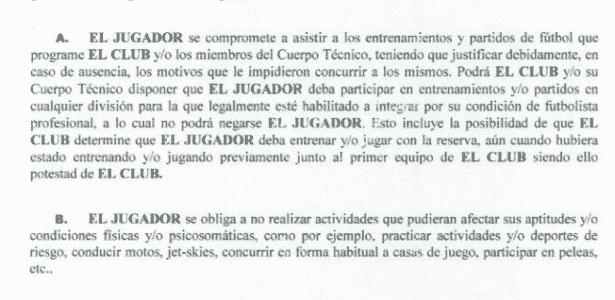 Reprodução de trecho do contrato de Tevez com Boca - Reprodução / Football Leaks - Reprodução / Football Leaks
