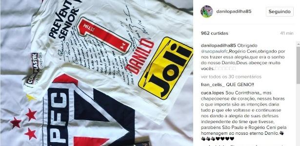 Família mostrou a homenagem do São Paulo