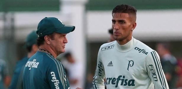 O técnico Cuca e o jogador Rafael Marques em treino do Palmeiras