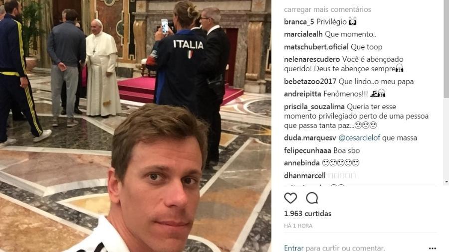 César Cielo posta foto de encontro com o Papa - Reprodução Instagram