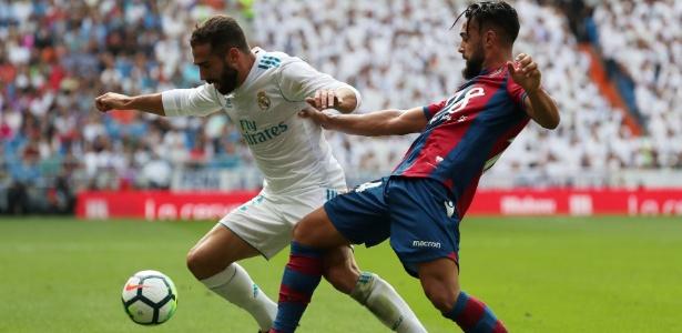Dani Carvajal, do Real Madrid, em ação durante partida contra o Levante