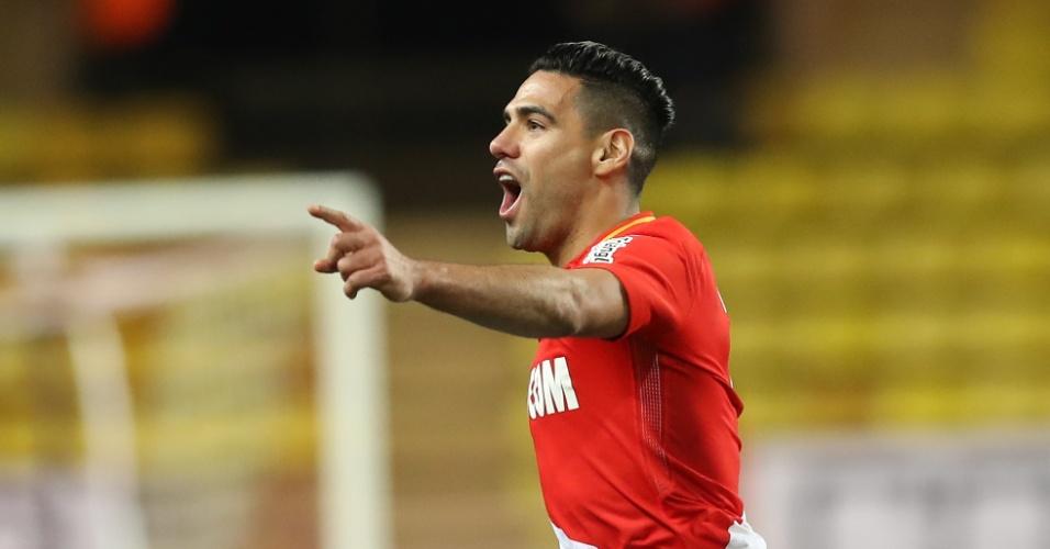 Falcao Garcia comemora gol do Monaco diante do Caen, pela Copa da Liga Francesa
