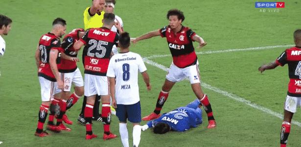 Cesar caído - reprodução/SporTV - reprodução/SporTV