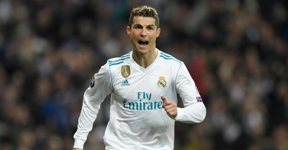 Cristiano Ronaldo comemora o gol da virada e vitória do Real Madrid