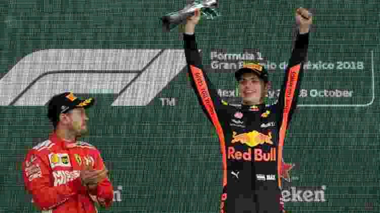 Verstappen e Vettel no pódio do GP do México - Henry Romero/Reuters - Henry Romero/Reuters