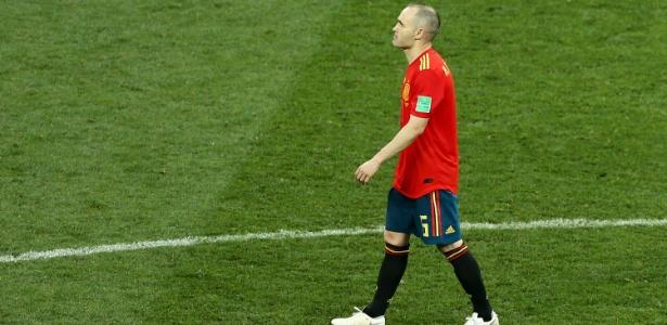 Andrés Iniesta após a eliminação na Copa do Mundo, nas oitavas de final para anfitriã Rússia  - Joosep Martinson - FIFA/Getty Images