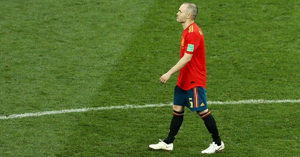 Andrés Iniesta após a eliminação na Copa do Mundo, nas oitavas de final para anfitriã Rússia