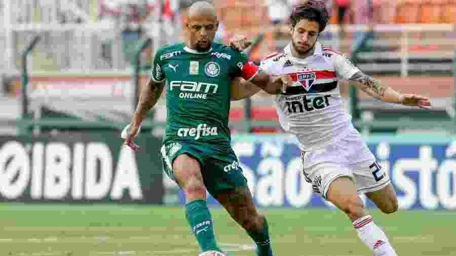 Felipe Melo e Hudson em duelo entre Palmeiras e São Paulo; clássico no próximo sábado - Marcello Zambrana/Agif