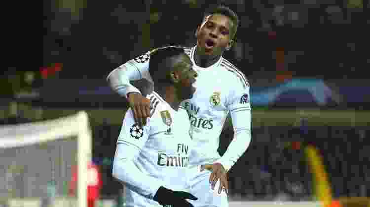 Rodrygo e Vinicius Junior marcaram pelo Real Madrid contra o Club Brugge - Dean Mouhtaropoulos/Getty Images - Dean Mouhtaropoulos/Getty Images