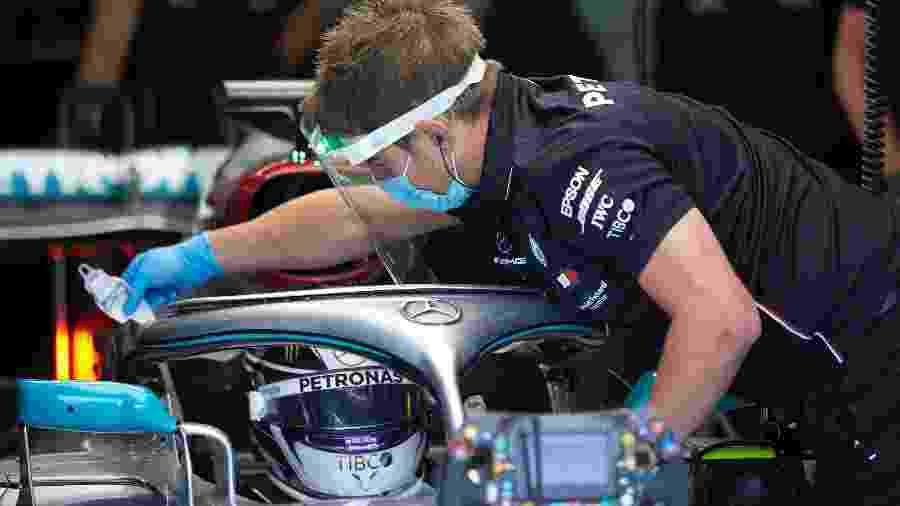 Mercedes testa procedimentos anti-coronavírus com Lewis Hamilton - Mercedes/Dilvulgação