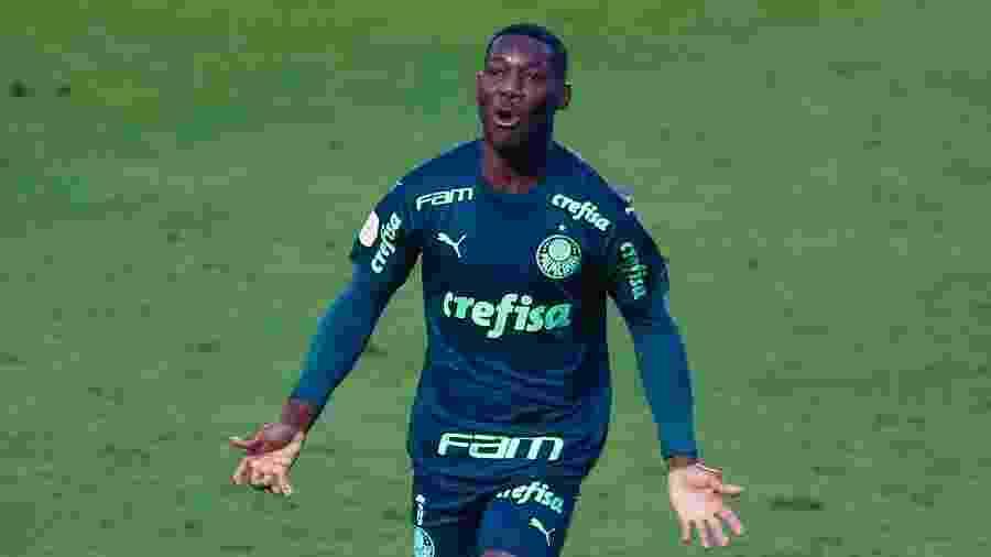 Patrick de Paula celebra gol do Palmeiras contra o Santos pelo Brasileirão - Marcello Zambrana/AGIF