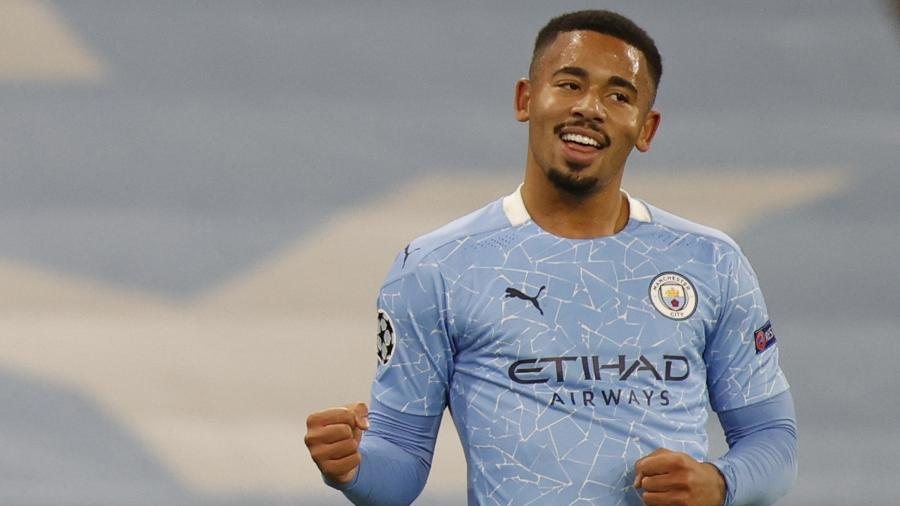 Gabriel Jesus comemora gol do Manchester City contra o Olympiacos - REUTERS/Phil Noble