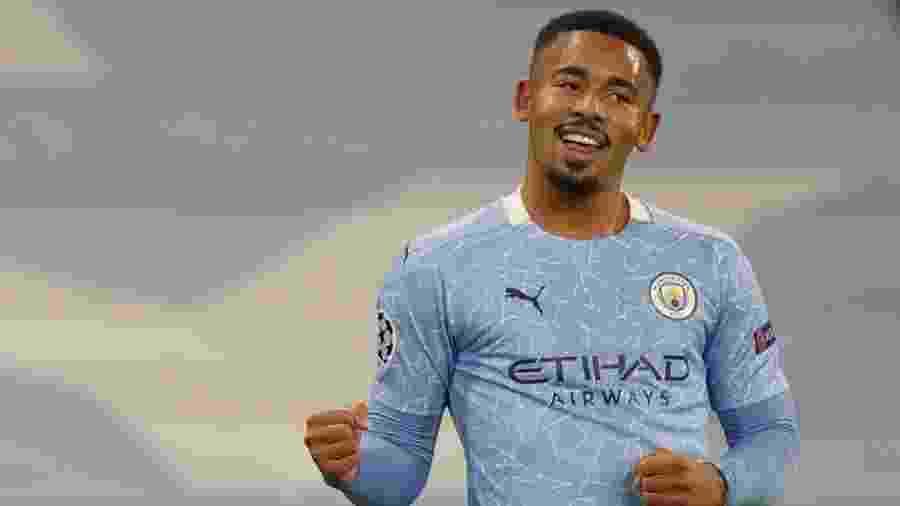 Gabriel Jesus comemora gol do Manchester City contra o Olympiacos - REUTERS/Phil Noble