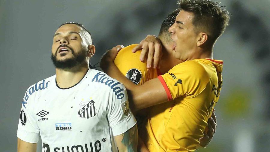 Pará, do Santos, na derrota para o Barcelona de Guayaquil, pela Libertadores 2021 - Divulgação/Conmebol