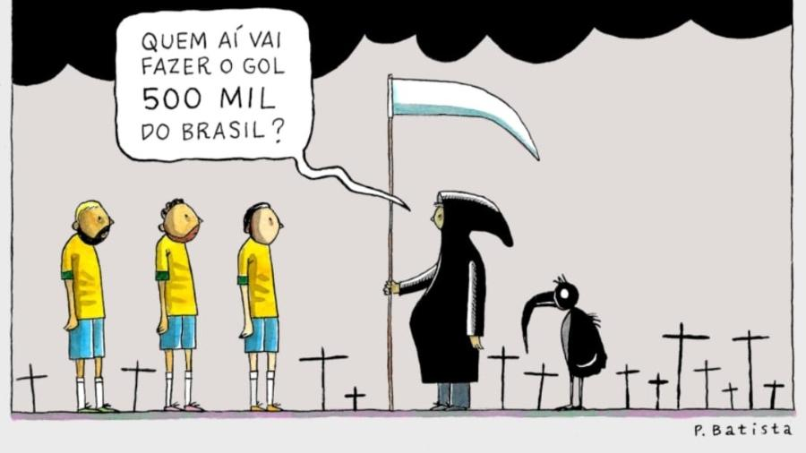 Charge sobre 500 mil mortos pela covid-19 no Brasil - P. Batista